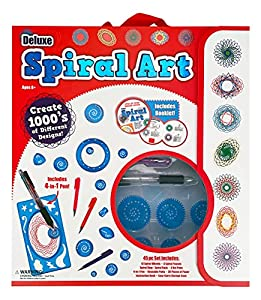 【Craft Kit】45 pc Set Includes : 10 Spiral Wheels, 3 Shaped Wheels, 3 Spiral Frames, Spiral Ring, Spiral Rack, 3 Gel pens, 4-in-1 Ballpoint Pen, Reusable Putty, 20 sheets of A4 Paper, Instruction Book, Easy-Carry Storage Case 【Create Your Own Artwork】...