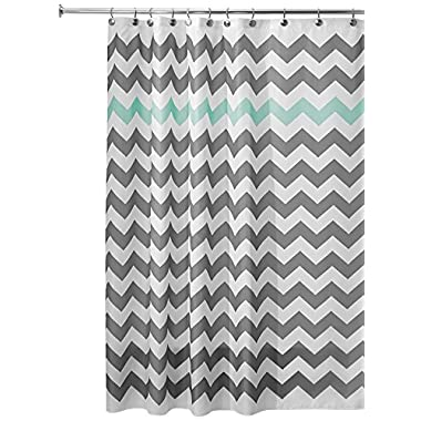 InterDesign Chevron Shower Curtain, 72 x 72-Inch, Gray/Aruba