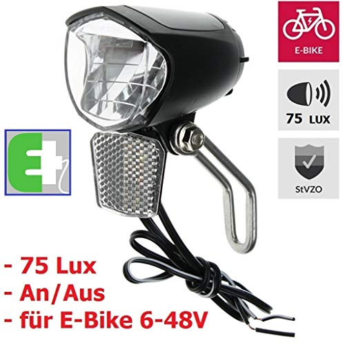 P4B mit StVZO 75 E LED-Scheinwerfer, schwarz, E-Bike 6V-48V