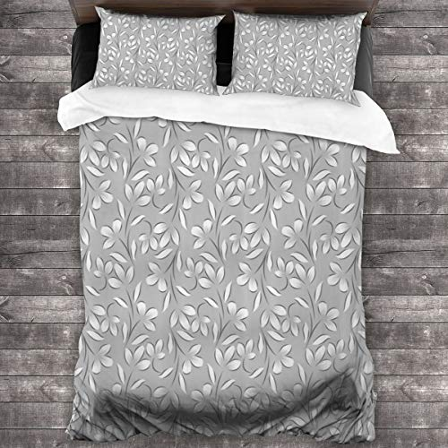 Duvet cover bedding Set,Floral Ornaments Spring Theme Abstract Paisley Antique Vintage Style Illustration,3 Piece Set bedding with 2 pillowcases,SuperKing(220 * 260cm)