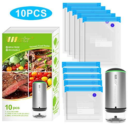 VMstr Lebensmittel Vakuumierer, Handheld Cordless Vakuumiergerät Versiegelung aufbewahren zum Sous Vide Kochen und zur Aufbewahrung von Lebensmitteln +10 Vakuumbeutel