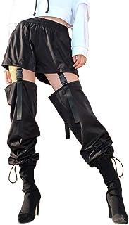سروال بحزام رباط من نايت كلوزت للنساء، سروال ستيمبانك فضفاض حتى الركبة