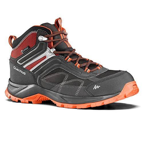 Quechua MH 100 Mid Men's Waterproof Hiking Shoes - Grey Orange (EU 41)