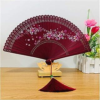 Abanico de bambú hecho a mano de XIAOHONG con patrón de flor de cerezo dibujado a mano, abanicos plegables para mujeres, para espectáculos, festivales, bodas, hogar, fiestas, regalos