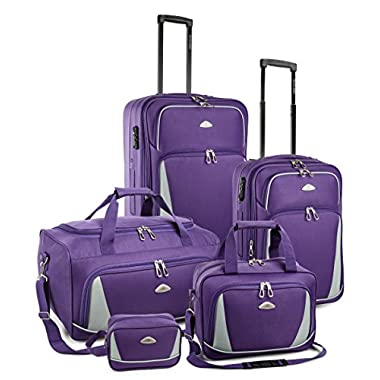 TravelCross Dublin 5 Piece Luggage Set w/ TSA lock - Purple