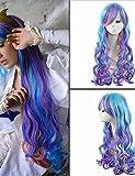xzl Pelucas de la manera 50cm las mujeres onduladas largas de color peluca cosplay de anime barato mi pequeña princesa Celestia cosplay pelucas de las mujeres