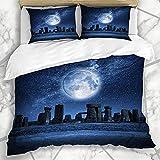 Nachtdruide Stonehenge Moonlight England - Juego de ropa de cama infantil (240 x 260 cm, microfibra, 3 piezas, funda nórdica con 2 fundas de almohada y cremallera, para niños y niños)