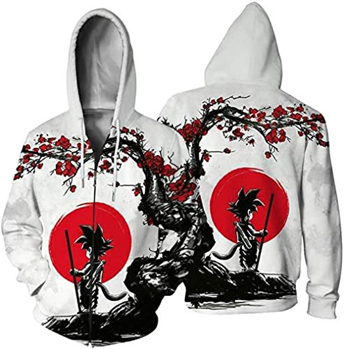 DYWLQ Anime Hoodies Dragon Ball Z Goku Symbol Unisex Print Zipper Turtleneck Sweater Cosplay Costume-01_3XL