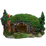 HALAWAKA - Decoración de acuario de resina para castillo, cueva oculta, casa del bosque para reptiles peceras decoración ornamento