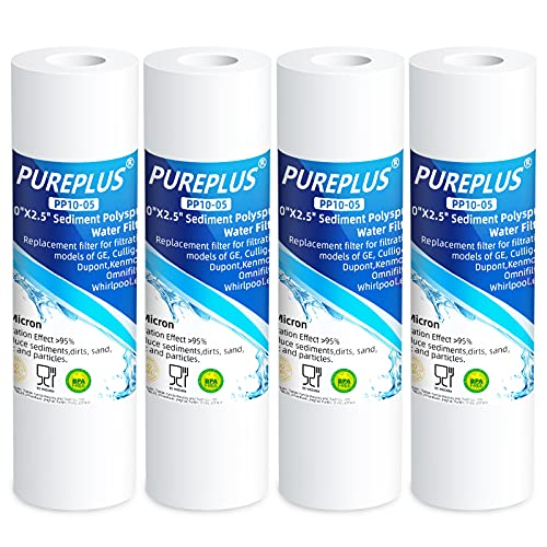 """PUREPLUS 5 Micron 10"""" x 2.5"""" Whole House Sediment Home Water Filter Cartridge Replacement for Any 10 inch RO Unit, Culligan P5, Aqua-Pure AP110, Dupont WFPFC5002, CFS110, WHKF-GD05, PP10-05, 4Pack"""