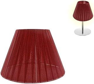 takestop® Pantalla cónica de tela blanca, diámetro 20,5 cm, cubre bombillas E14 E27 para lámparas de techo, mesa, escritorio, mesilla de noche, casa (diámetro: 25,5 cm, rojo)