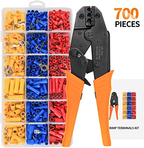 Wire Terminal Crimper Tool with 700pcs Wire Insulated Butt Terminal, Ratchet Terminal Crimper, Crimping Pliers, Crimping Tool For Insulated Electrical Connectors AWG22-16