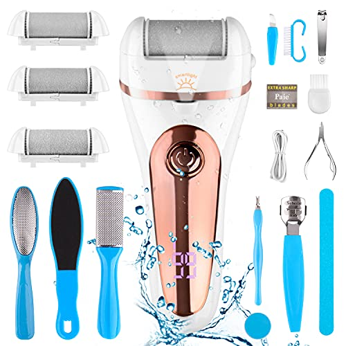 Electric Callus Remover Kit,Inpher Rechargeable Foot Care Kit 18 in 1 Waterproof Pedicure Tools Dead Foot Skin Remover with Smart Light for Cracked Heels Calluse,3 Roller Heads,2 Speed,Battery Display