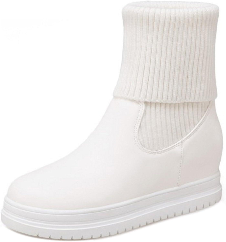 KemeKiss Women Comfort Slip On Knit Boots Platform