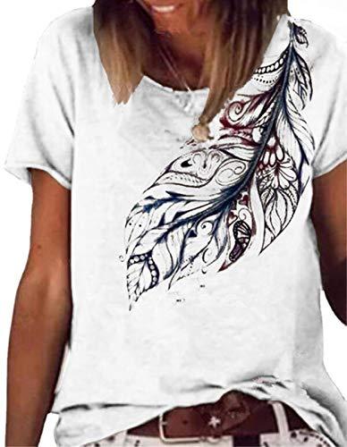 Camiseta de Manga Corta con Estampado de Hojas y Cuello Redondo de Manga Corta Mujer