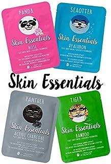 Gesichtsmasken mit Tier Motiven 4 Stück - Spass & Pflege - Tuchmasken mit Hyaluron, Bambusextrakt, Aktivkohle oder Rosenwasser
