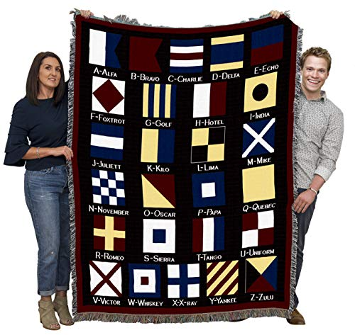 Pure Country Weavers Nautical Flags Woven Blanket Large