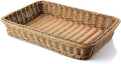 SKGOFGODcw Home Storage Bins Rattan Storage Basket, Plastic Woven, Rectangular Round Storage Basket, Bath Basket, Kitchen ...