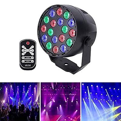 Led Par Can Stage lights 18LED Sound Activated DJ Disco Lights DMX512 RGB 7 Channel Lighting Modes Strobe Light with Remote Control for DJ Bar Wedding Parties
