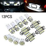 lzndeal LED bombillas de coche lámpara SMD LED Bombilla 13pcs/set coche blanco LED luces Kit para Stock interior domo licencia placa lámparas
