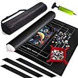 """Puzzle Mat Roll Up with Guiding Lines for 500, 1000, 1500 Pieces Roll Your Jigsaw Puzzle in 30 sec-24"""" x 46"""" Portable Storage Mat with 1 Inflation Tube, 3 Fastening Straps, Sorting Tray&Storage Bag"""