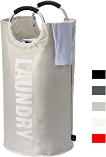 HOUSE DAY Large Laundry Hamper Collapsible Fabric Laundry Basket, Foldable Clothes Bag, Folding Washing Laundry Bag(Light Grey,82L)