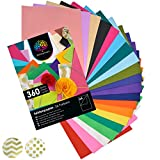OfficeTree Papel de Seda 360 Hojas A4-26 Colores - ms diversin en Sus Manualidades, diseos y Decoraciones - Papel para Esbozo y para Recortar - 16 g/m