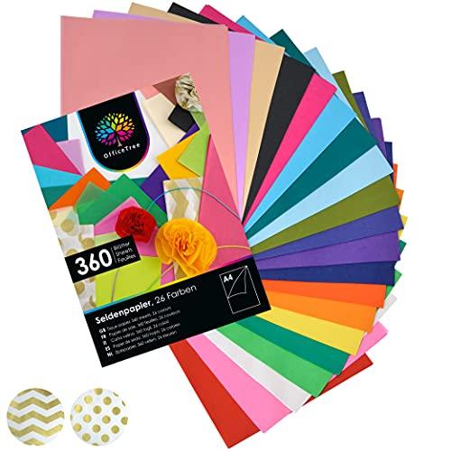 OfficeTree Seidenpapier 360 Blatt A4 - bunt 26 Farben - mehr Spaß am Basteln Gestalten Dekorieren - Skizzen- und Zuschnitt-Papier - 16 g/qm Premium-Qualität
