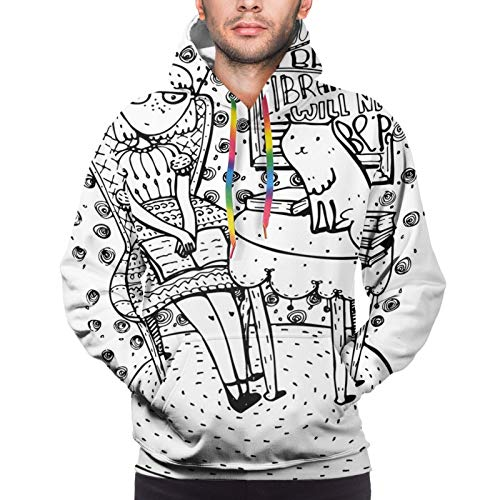 Men's Hoodies Sweatshirts,Cartoon Style Hand Drawn Girl Sitting with A Book and Cat Glasses Crown Happy Cat,Large