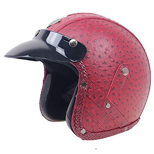 YOVYO Casco Moto Mezzi Elmetti per Adulto,retrò Motociclista Copricapo Protezione Protettore Scooter Casco Aperto Ciclomotore da Corsa per Uomini E Donne Unisex, Omologata DOT/ECE