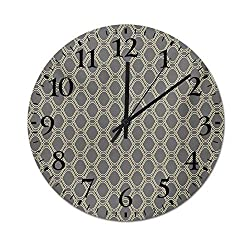 Homesonne Quartz Clock Oval Shapes with Curved Lines Ornamental Composition of Abstract Shapes Rustic Wall Clock Perfect Addition to Your Kitchen Beige and Taupe 15.7 Inch