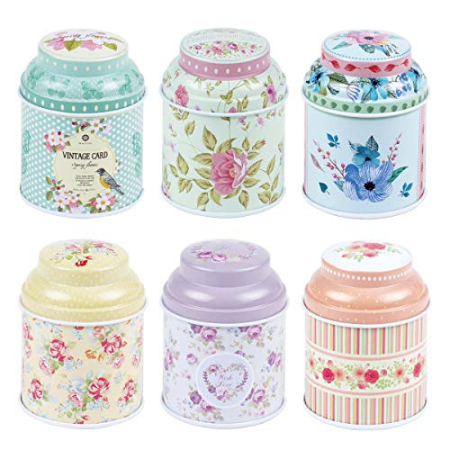 TooGet Elegant Metal Tinplate Empty Tins Shabby Chic Mini-boxes for DIY Candles Dry Storage Spices Tea Candy Party Favors and Gifts - Random ColorCylinder 6-Pack