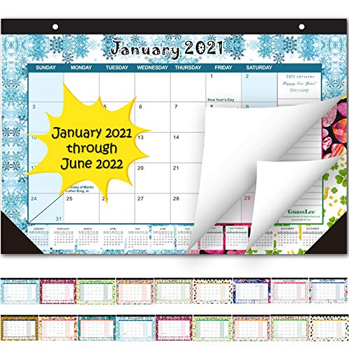 Desk Calendar 2021-2022: Large Monthly Pages 17 x 11-1/2 Inches Runs from January 2021 Through June 2022-18 Monthly Desk/Wall Calendar can be Used Throughout 2021