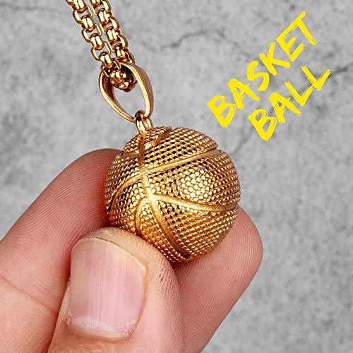 LHXMY Cool Heren Goud Zilver Basketbal Heren Lange Ketting Hanger Jongen RVS Sieraden Geschenk, Mand Bal, 60Cm