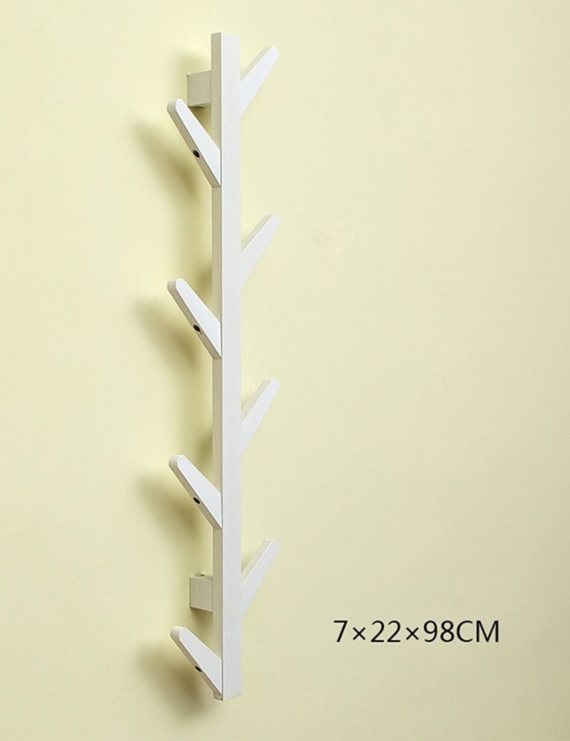 Creative Wall Entrance Solid Wood Coat Rack Bedroom Wall Hangers Living Room Simple Wall Hanging Clothes Hanger (color   White, Size   8 Hook)