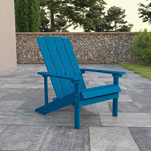 Flash Furniture Charlestown All-Weather Adirondack Chair in Blue Faux Wood