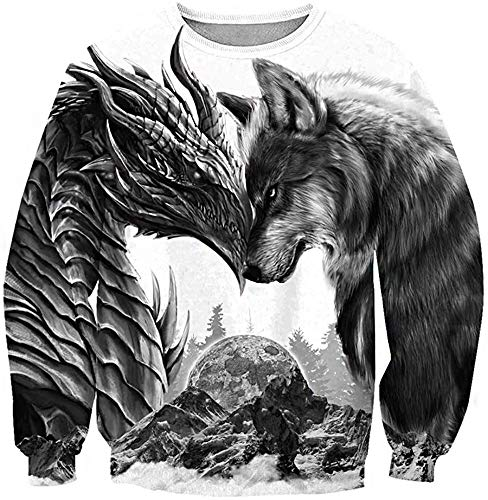 Viking Dragon y Fenrir Wolf Tattoo Hombre con Capucha Hombre 3D Impreso Mitología Nórdica Suelta...