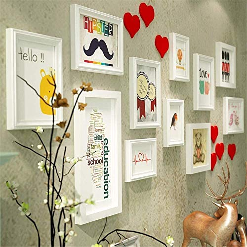 USRVR Creative Heart Picture Frame Set Large Photo Frame Wall Set Modern Living Room Large Multi Picture Photo Frames Wall Set Solid Wood Photo Wall (Color : White)