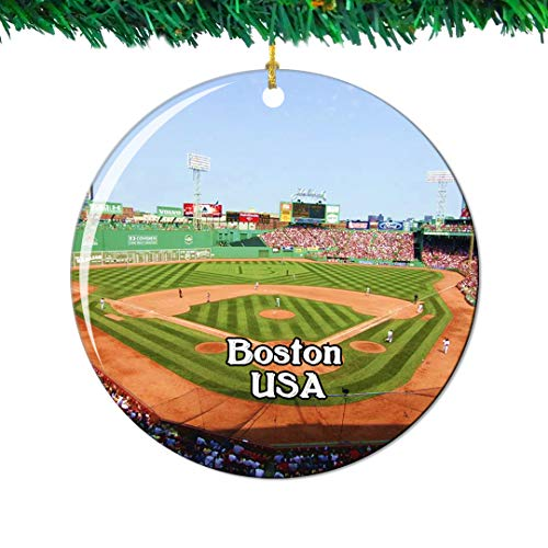 Weekino Fenway Park Boston America USA Christmas Ornament City Travel Souvenir Collection Double Sided Porcelain 2.85 Inch Hanging Tree Decoration