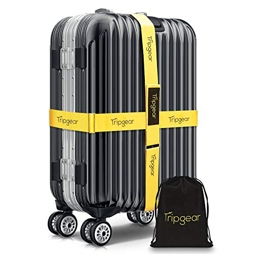 Tripgear Premium Luggage Strap - Luggage Belt with extra strong Fastener (Yellow - 2pcs + velvet bag)