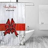 Cortina de la Ducha Shower Curtain Christmas Ribbon Bow New Year Guest Kids Bathroom Decor with Hooks Summer Bath Waterproof Bathtub Window Accessories Thick Polyester Opaque Hotel