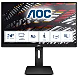 AOC 24P1 - 24 Zoll FHD Monitor, höhenverstellbar ( 1920x1080, 60 Hz, VGA, DVI, HDMI, DisplayPort, USB Hub) schwarz