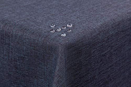 TextilDepot24 - Mantel para mesa de jardín, imitación de lino, antimanchas, repele el agua, no necesita planchado, gris oscuro, 130 x 220 cm