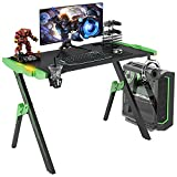 """GALAXHERO 47"""" Large Gaming Desk with Music Sync Color Change RGB LED Light, Professional Gamer Computer Desk with Headphone & Cup Holder, Home Office PC Workstation, XL Mouse Pad, Black&Green, GX-S"""