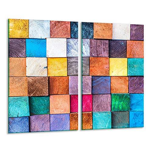 TMK | 2 placas para cubrir la vitrocerámica de 2 piezas de 30 x 52 cm, para cocina eléctrica, inducción, protección contra salpicaduras, tabla de cortar | colores mosaico