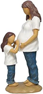 WL SS-WL-18422, 7.25 Inch Mother with Daughter Blue Jeans and Expecting Resin Figurine, 7.25