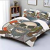 Juego de funda nórdica, ilustración de calavera de marinero con barba, tema náutico, esqueleto y aro salvavidas decorativo Juego de cama decorativo de 3 piezas con 2 fundas de almohada, multicolor, el