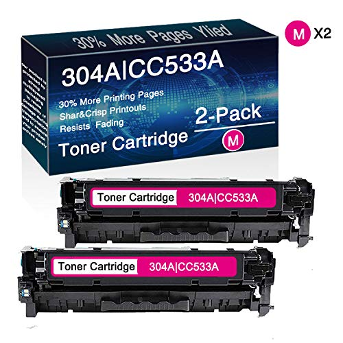 2-Pack 304A | CC533A (2magenta) Remanufactured Toner Cartridge Replacement for HP Color Laserjet CP2025,CP2025n,CP2025dn,CP2025x,CM2320n MFP,CM2320fxi MFP,CM2320nf MFP Printers, by CuToner.