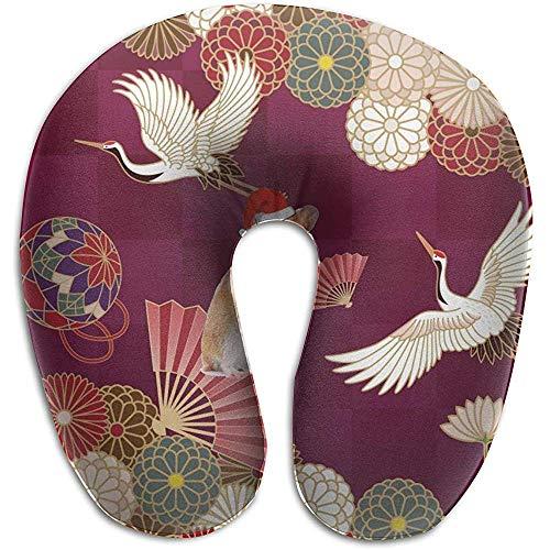 Hao-shop Almohada con Forma de grúa Tradicional Japonesa Almohada en Forma de U Almohada de Cuello de Espuma para Viajar Dolor en el Cuello Suave con Material Resistente