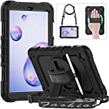 HXCASEAC Samsung Galaxy Tab A 8.4 Case 2020 (SM-T307/SM-T307U), Full Body Shockproof Case with 360 Rotating Stand/Hand Strap,[Shoulder Strap & Screen Protector] for Galaxy Tab A 8.4 Inch SM-T307,Black